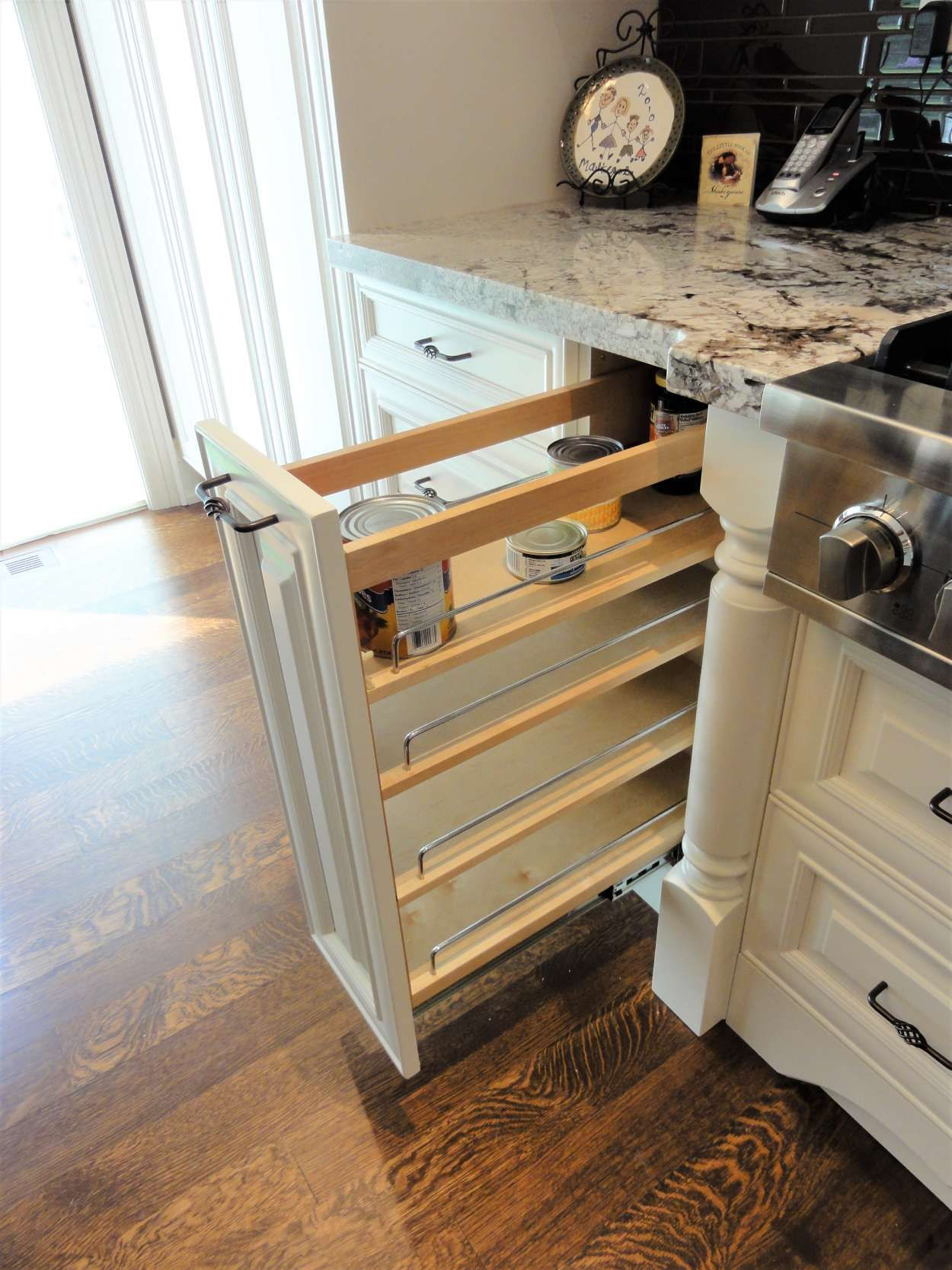 view of a open kitchen drawer