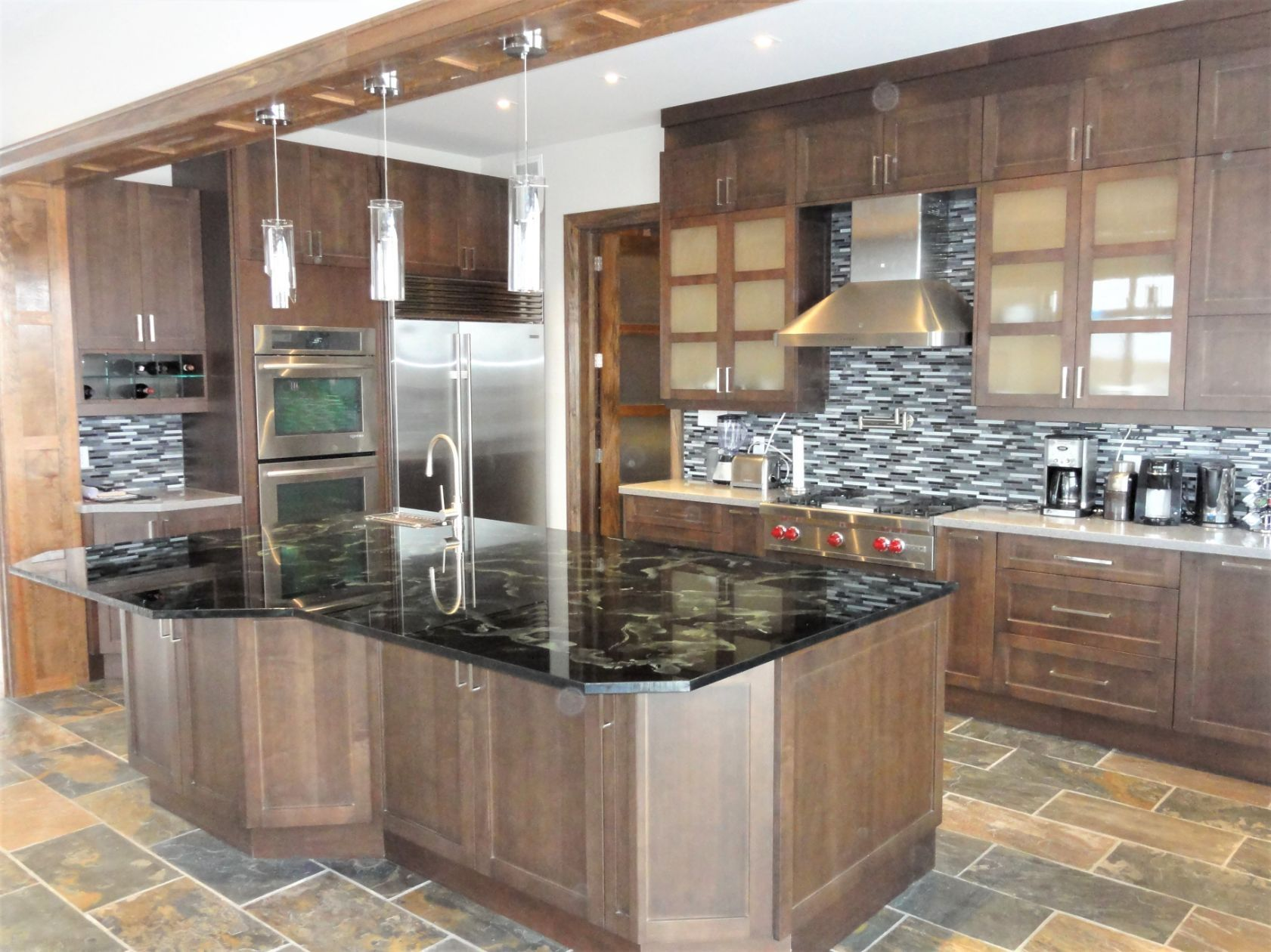 kitchen with wood finish