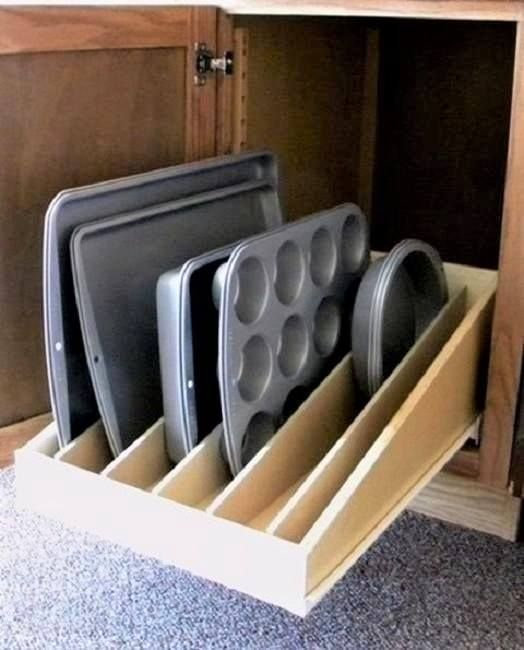 tray cabinet in a kitchen