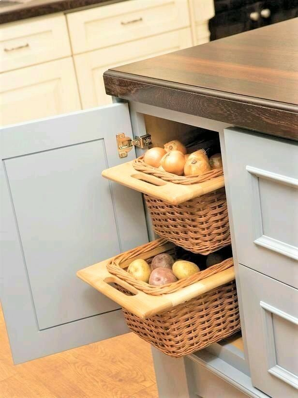 view of onion trays in a cabinet